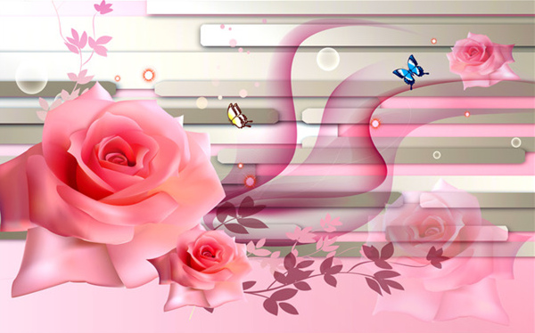 Awesome TV Background Wall Wallpaper Chinese Living Room 3D Visual Mural Dreamy Pink Rose In Wallpapers From Home Improvement On Aliexpress