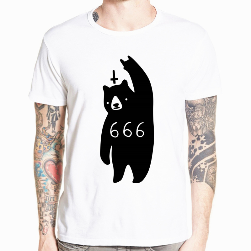 666 bear Satan   T  -  shirt   Fashion Short sleeve O-Neck Tops Summer   T     shirt   casual homme Hip Hop Swag Tshirt HCP145