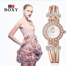 New 2016 Luxury Rhinestone Rose Gold Watches Women Dress Watches Ladies Stainless Steel Bracelet Quartz Watch reloj mujer AC065 цена в Москве и Питере