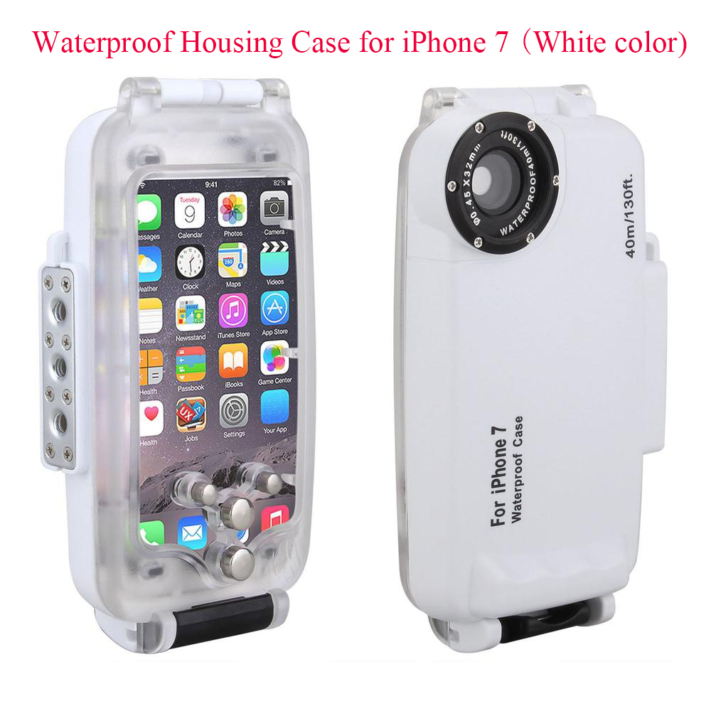 Meikon EasyDive 40m/130ft Waterproof Underwater Housing Case for iPhone 7 White Waterproof Underwater Case Cover for iPhone 7 christmas themed pattern pc back case for iphone 6 4 7 red white