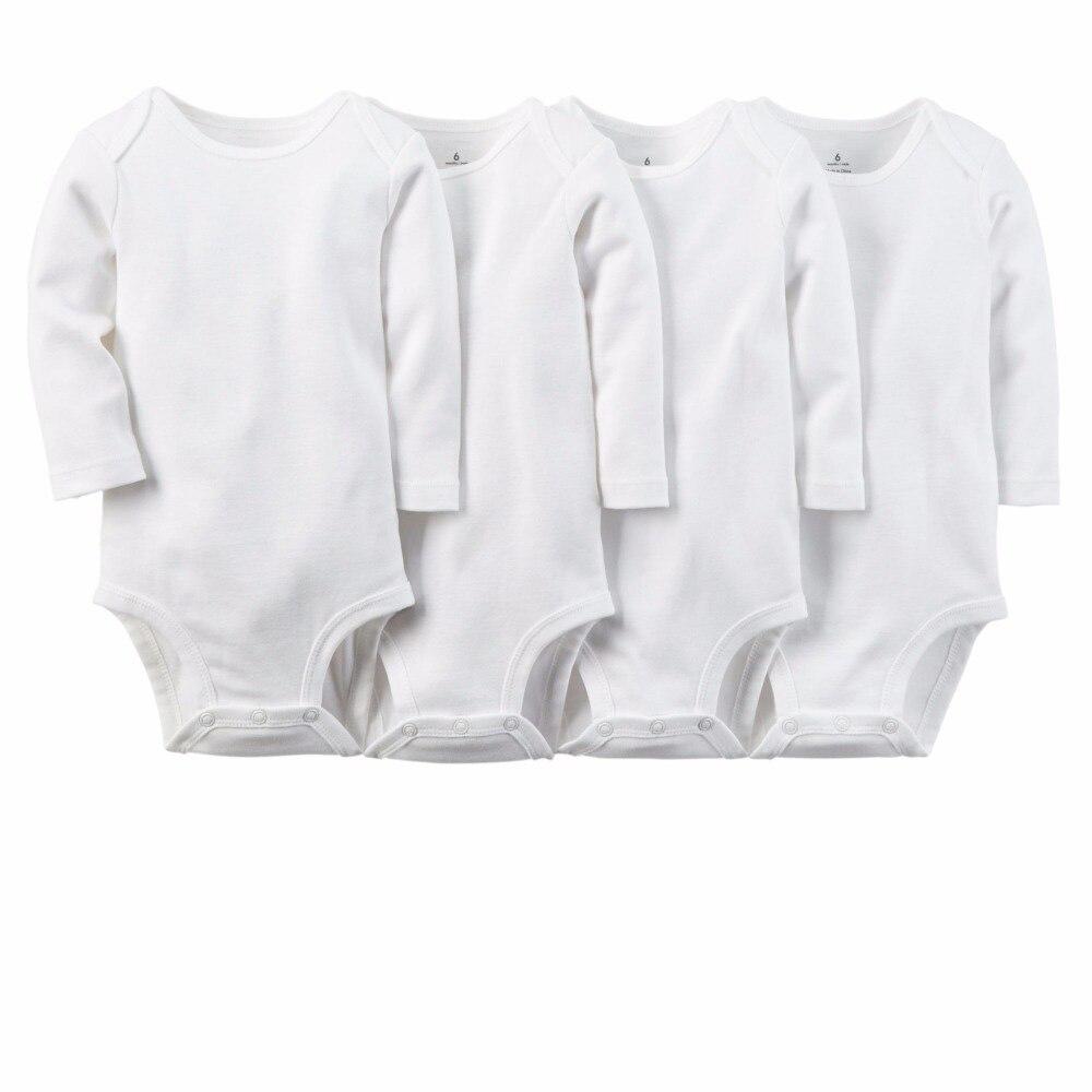 5 teile/satz Reine Weiße Baumwolle Unisex Neutral Langarm Baby Körper Kleidung Neugeboren Verschleiß Kinder Jugendliche Baby Mädchen Jungen body