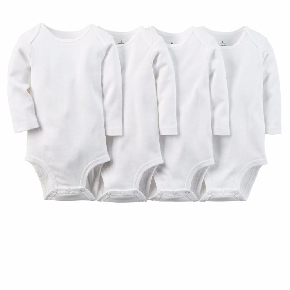 5pcs/set Pure White Cotton Unisex Neutral Long Sleeve Baby Body Clothes Infant Newborn Wear Children Kid Baby Girl Boy Bodysuit цена