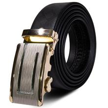 Hi-Tie 2019 Luxury Designer Men Belt Black Leather Belt for Men Golden Metal Automatic Buckle Men's Belt 3.5cm Wide Belt PD-2084 fashion golden stripy embellished metal automatic buckle black wide belt for men