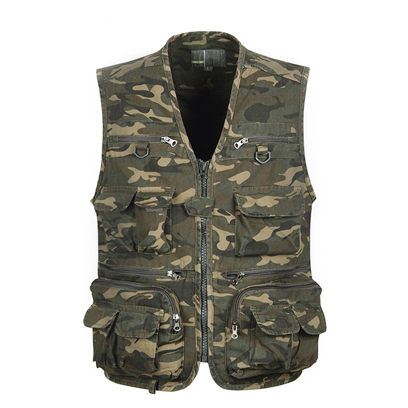 1pcs Men Camouflage Fishing Hunting Vest Cargo Outdoor Game Outwear Waistcoat Multi-Pocket Photography Recreational Fishing Vest camouflage multi pocket loose fit straight leg zipper fly cargo shorts for men