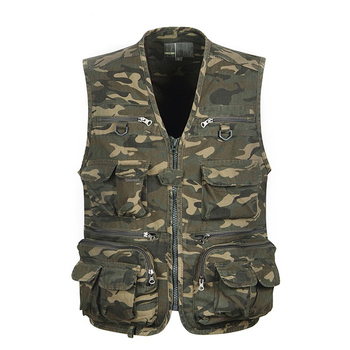 1pcs Men Camouflage Fishing Hunting Vest Cargo Outdoor Game Outwear Waistcoat Multi-Pocket Photography Recreational Fishing Vest b new spring men s two sided vest multi pocket multi pocket vest men casual fishing photography vest plus size s 4xl