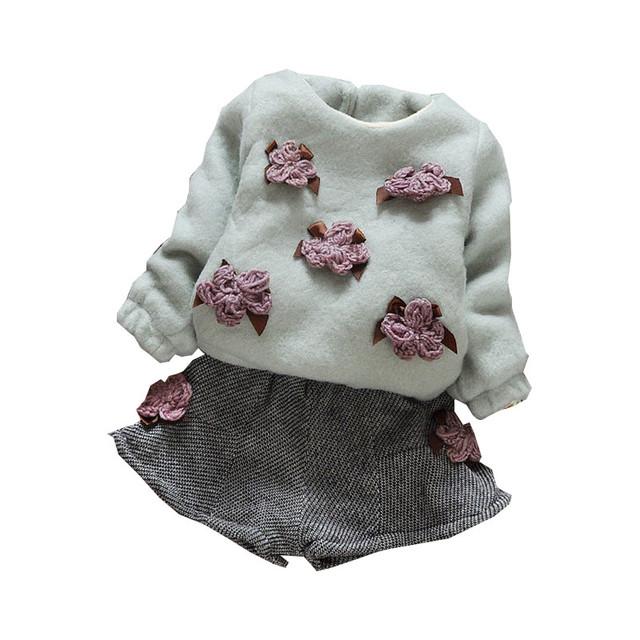 2016 Otoño Invierno de Las Muchachas Que Arropan La Manga Larga de Costura Floral Cortocircuitos Calientes de Espesamiento del Terciopelo Fijó 2 unid Muchacha Del Niño Ropa