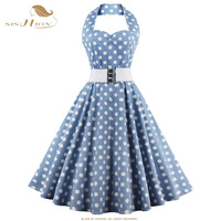 SISHION S 4XL Halter Summer Autumn Dress Polka Dot 50s 60s Rockabilly Swing Retro Vintage Plus
