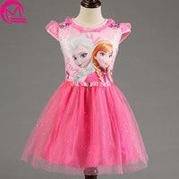 Girl Dresss Brand Summer Tddler Girl Clothes Sequins Lace Princess Anne Elsa Dress Snow Queen