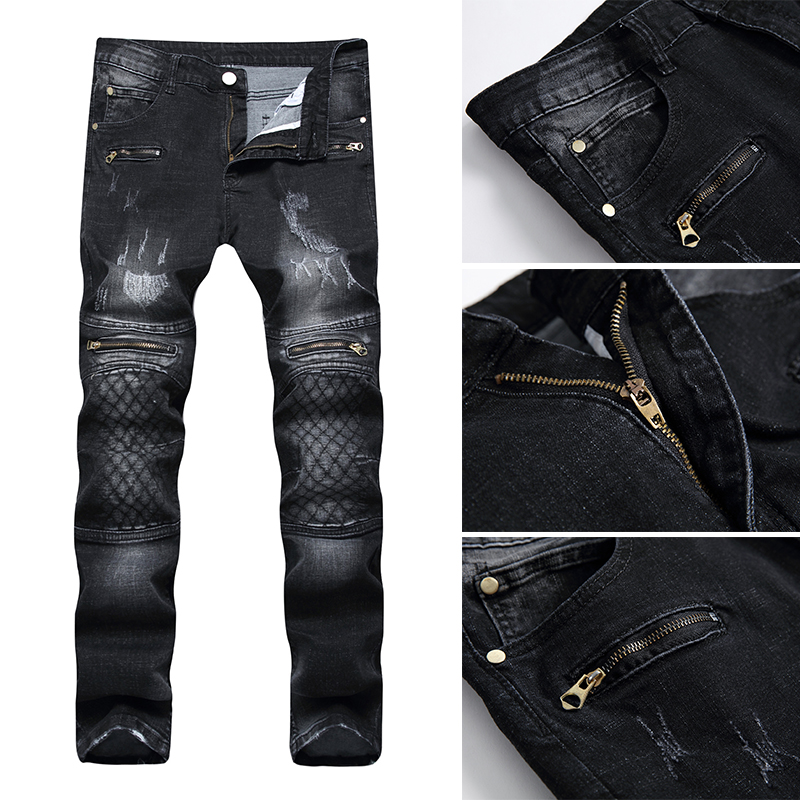 1Pcs Embroidered Solid color Casual trousers Mens jeans Stretch jeans