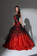 New dresses Hot sexy Beautiful Red Black Flower Wedding Dresses Custom made Dress