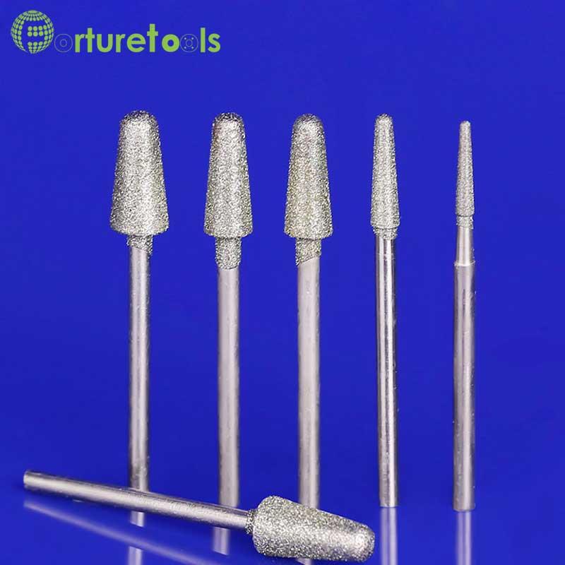 50 sztuk diament zamontowany punkt dremel obrotowy narzędzia montowane koła agat jade szlifowanie kamienia szlifowanie polerowanie głowica szlifierska typu B MT009
