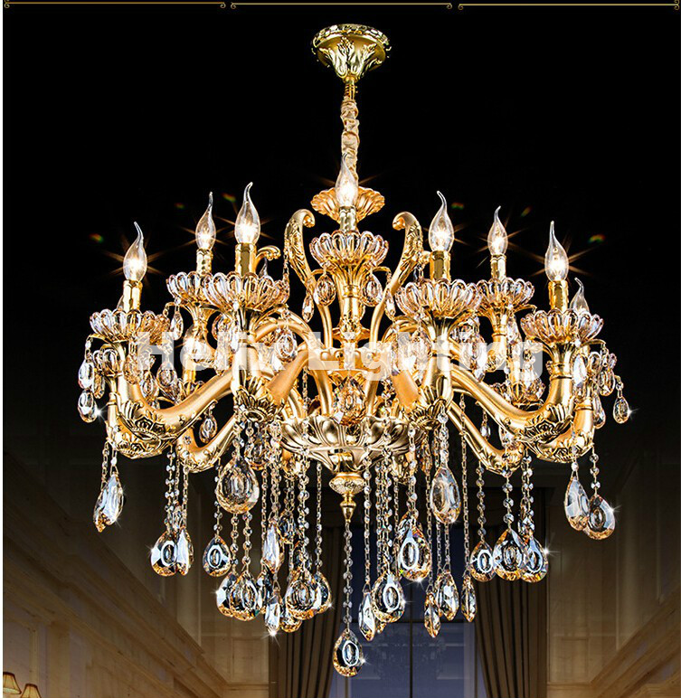 hot selling smoked k9 crystal chandelier lustre crystal chandeliers lustres de cristal chandelier e14 led ac lampshades included Hot Selling Golden Luxurious K9 Crystal Chandelier Class A K9 Lustres De Cristal Chandeliers AC 100% Guaranteed Free Shipping