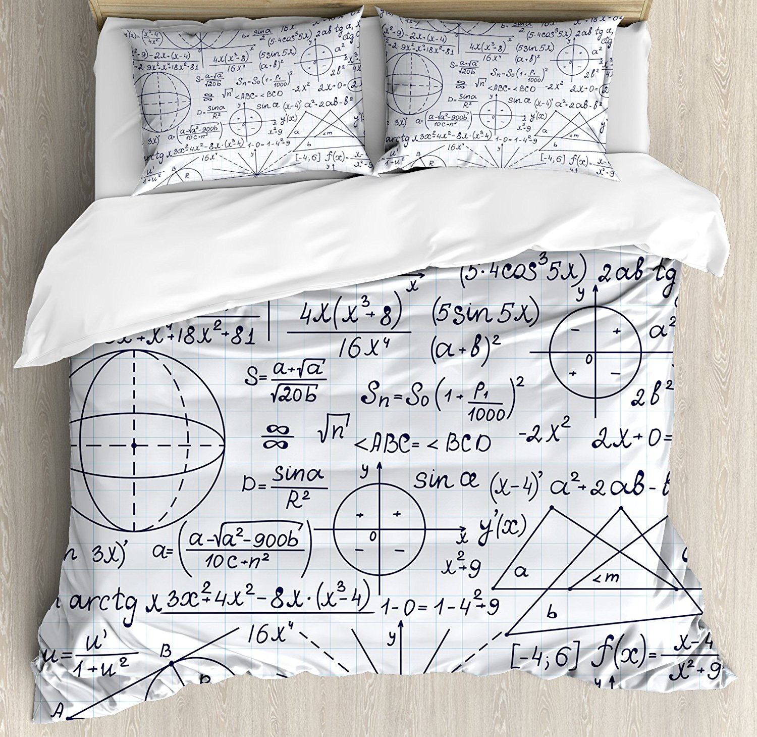 Modern Duvet Cover Set School Genius Smart Student Math Geometry Science Numbers Formules Image Art 4 Piece Bedding Set