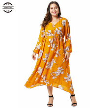 2019 New Spring Big Size Women Dresses Sexy V-Neck Floral Print Long Dress Casual Long Sleeve Plus Size Yellow Maxi 4XL Dress
