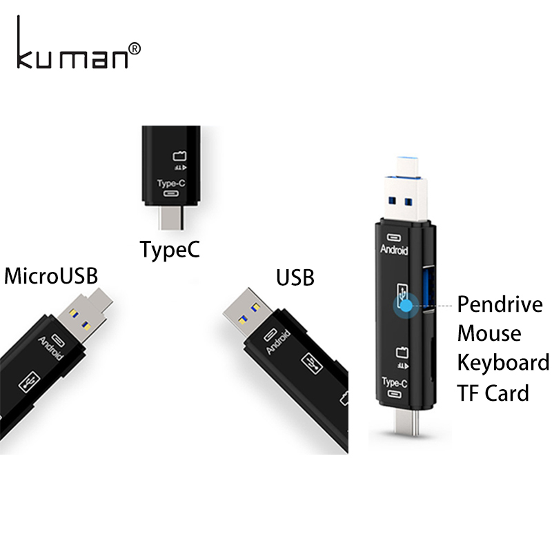 Kuman 2.0 OTG Card Reader USB MicroUSB TypeC Interface with Micro SD USB TF Card Slot Y211 Flash Memory Card Reader for Phone