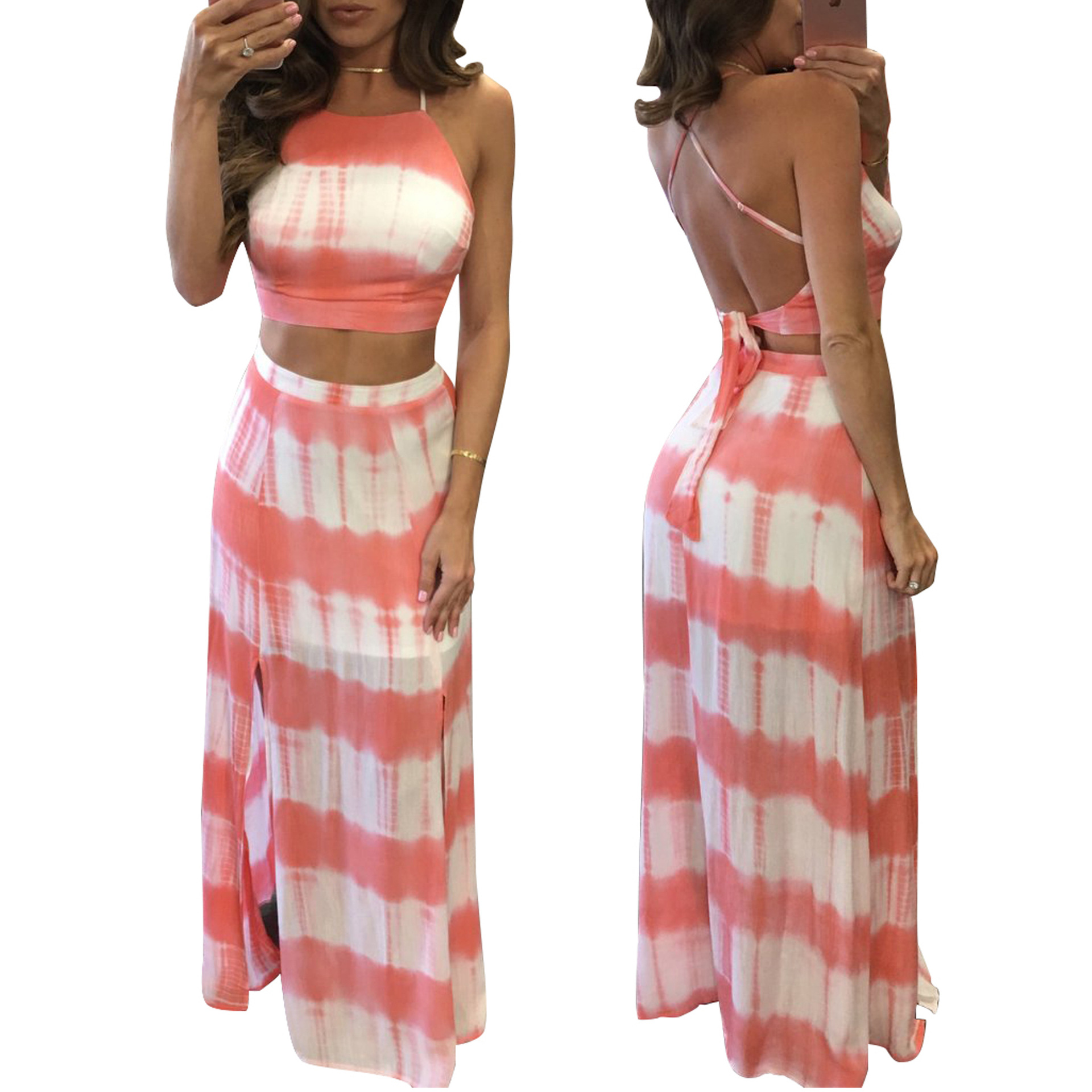 3aae4425e6 Summer Beach Women Sleeveless Long Casual Dress Stripes Party Bodycon Dress  Night Club 2 pieces set Wear-in Dresses from Women s Clothing on  Aliexpress.com ...