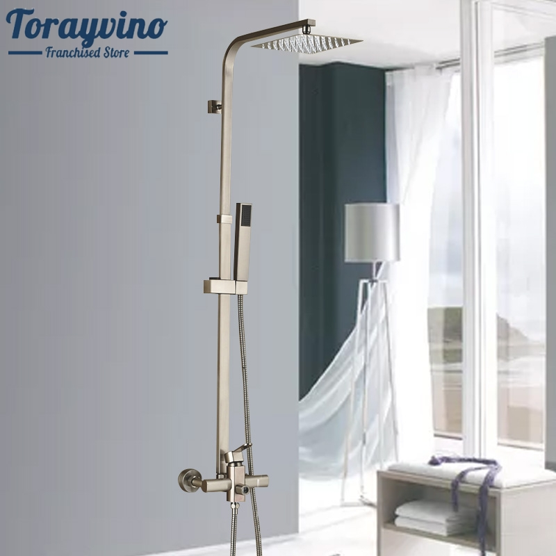 Luxury Brushed Nickel Shower Set Faucet Single Handle 8 Square Rain Stainless Steel Shower Head in-Wall Shower Mixer Taps