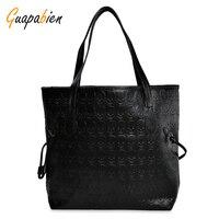 Guapabien Hip Hop Skull Print PU Leather Handbag Ladies Waterproof Large Casual Top Handle Bag Cool