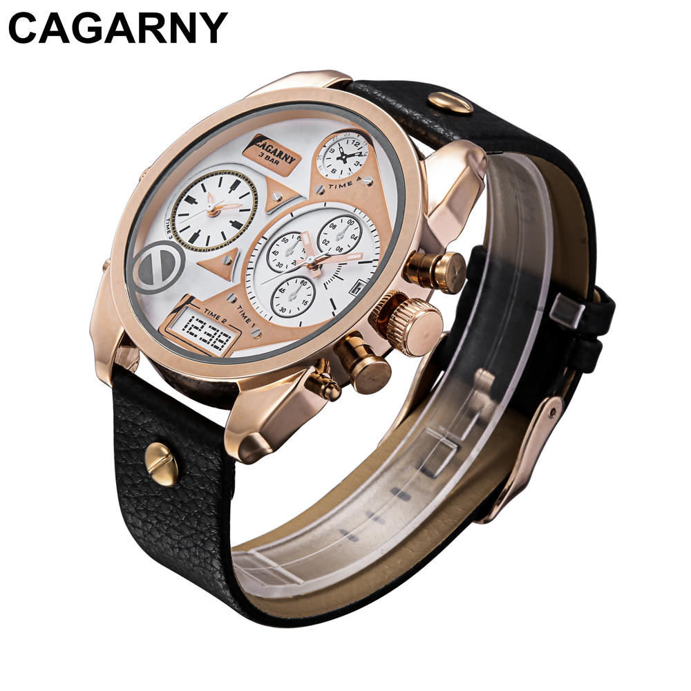 mens military watches army rose gold case black leather strap sports watches dual time zones large dial male clock for brave men free shipping (11)