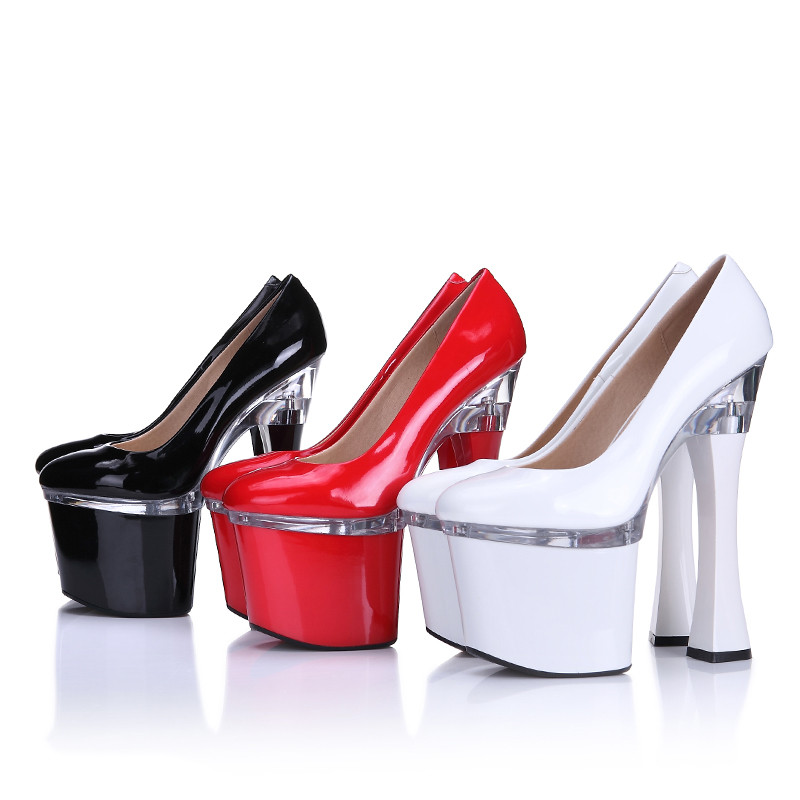 цена на Wedding bridal women sexy red black white on the platform 20 cm extreme square high heels pumps plus size 41 42 43 44 shoes F45