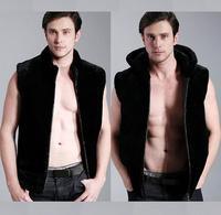 Black fashion Hooded warm faux fur coat vest mens leather jacket men vests coats slim winter thermal outerwear splice 3XL