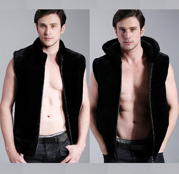 Black Fashion Hooded Warm Faux Fur Coat Vest Mens Leather Jacket Men