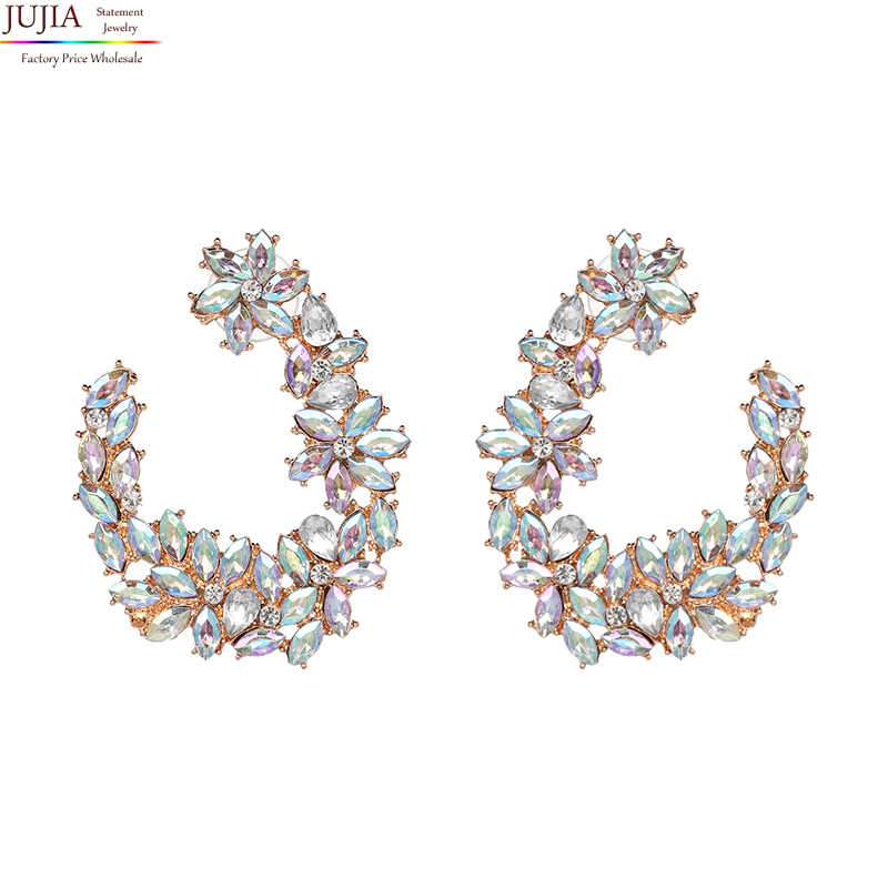 JUJIA New Arrival Hot Jewelry Crystal Multicolor statement earrings Special Bohemia Big Earrings for Women