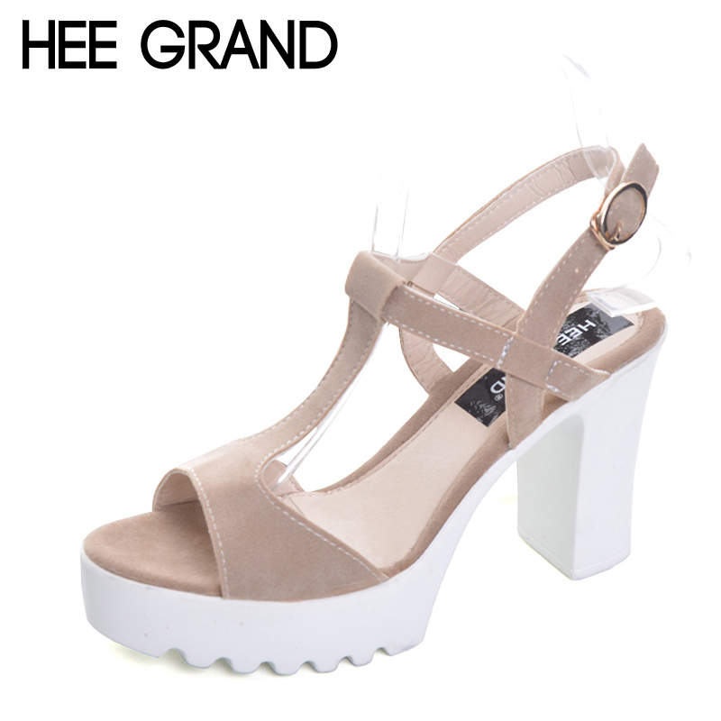 HEE GRAND 2017 Summer Gladiator Sandals Platform Shoes Woman Suede Sexy High Heels Casual Buckle Women Shoes Pumps XWZ4222 hee grand summer glitter gladiator sandals 2017 casual wedges bling platform shoes woman sexy high heels beach creepers xwx5813