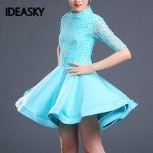 Кружевное платье для латиноамериканских танцев для девочек, детская танцевальная юбка для девочек, танцевальная одежда для танго, сальсы, одежда для занятий спортом