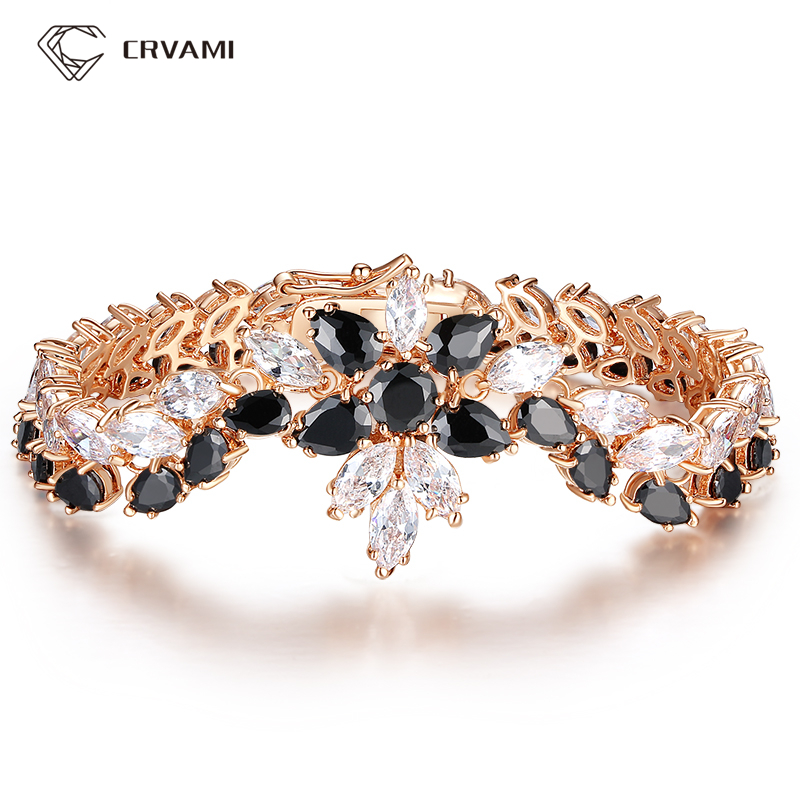 CRVAMI Bracelet, Brand Luxury 18K Rose Gold Plated Chain Link Bracelets & Bangles for Women with Black&White AAA CZ Crystal