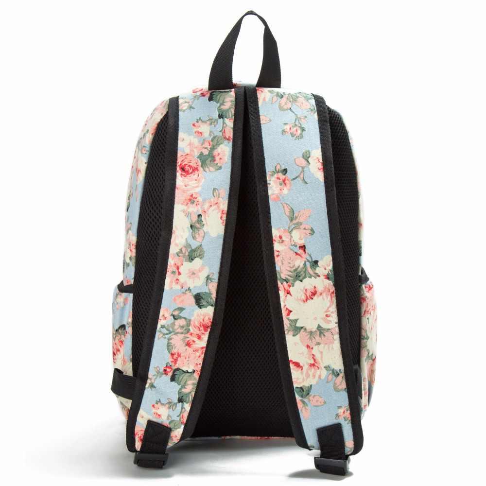 Miyahouse Gaya Segar Ransel Floral Cetak Bookbags Ransel Kanvas Tas Sekolah untuk Anak Perempuan Ransel Wanita Ransel Perjalanan