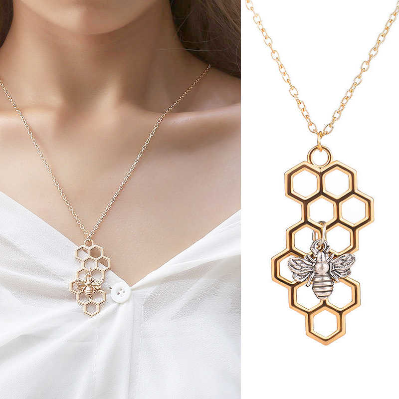 745732f222db0d 1PC 4 Colors Women Korean Honeycomb Bee Animal Girls Men Golden Pendant  Necklace Silver Allergy Free