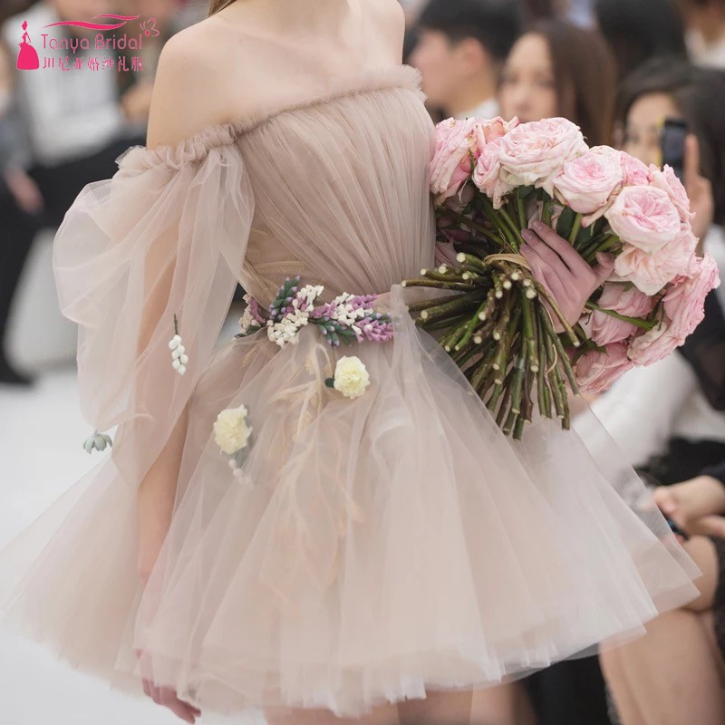 A Line Champagne Short Mini Tulle Cocktail Dresses 2018 Real Photo Off The Shoulder Illusion Sexy Party Dress Gown DQG480