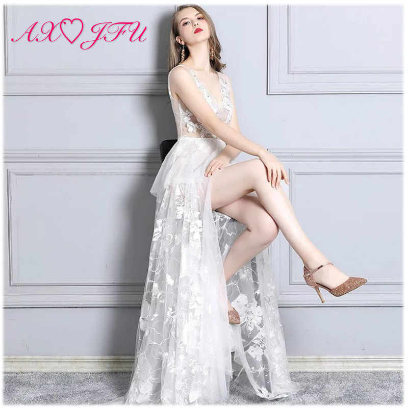 AXJFU Weiß Tiefem V-ausschnitt Sexy Fischschwanz Perspektive blume spitze meerjungfrau abendkleid Modell Club Nacht trompete rosa Abendkleid