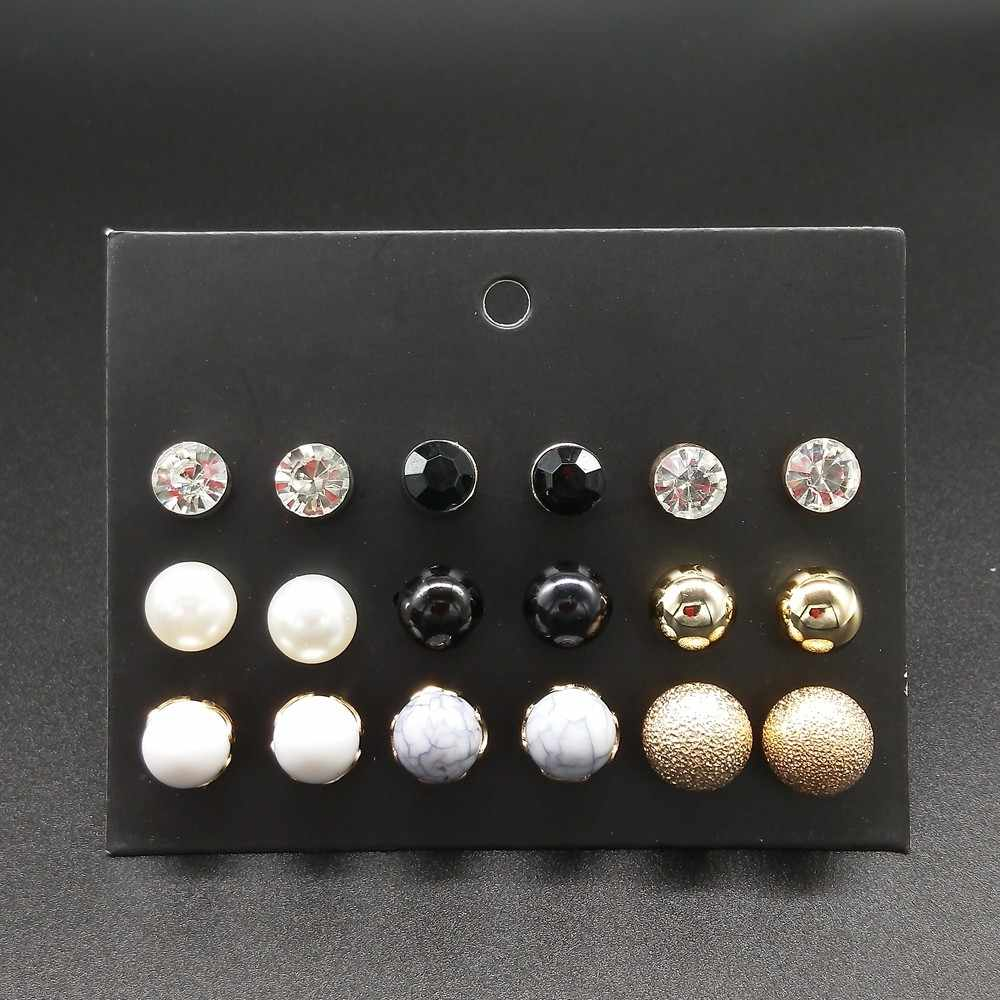 9 Pairs/lot Simple Crystal Stone Stud Earrings Set For Girls Women Simulated Pearl Jewelry Pendientes Mujer Dropshipping