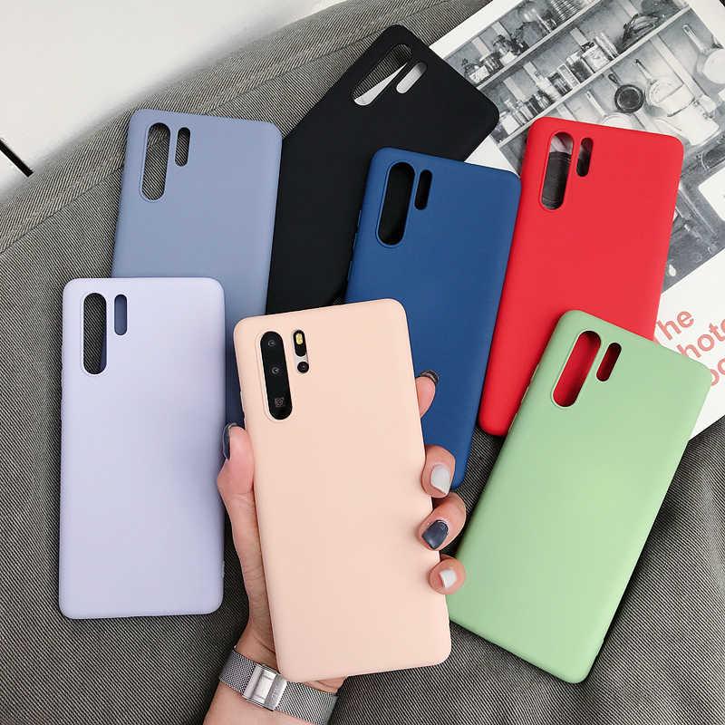 キャンディーカラーソフトシリコン電話ケース Huawei 社 Y9 2019 Y5 Y6 首相 Y7 プロ P30 Lite P20 メイト 30 メイト 20 10 ノヴァ 5i シンプルなカバー