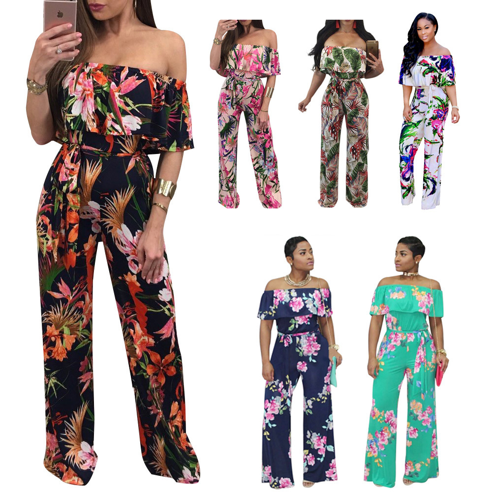 Plus Size Jumpsuits And Rompers For Women clothing Floral Body Femme Sexy printing pants Amazon Tuta Mono Largo Mujer Macacao