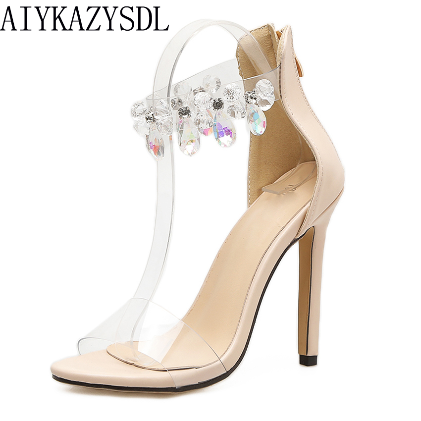 AIYKAZYSDL Sexy Elegant Women Pumps PVC Clear Crystal Sandals Ankle Strap Zip High Heel Wedding Bridal Shoes Stilettos Wedding aiykazysdl sexy 2018 women sandals
