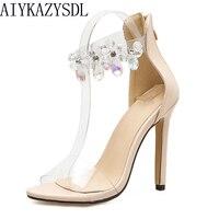 AIYKAZYSDL Sexy Elegant Women Pumps PVC Clear Crystal Sandals Ankle Strap Zip High Heel Wedding Bridal