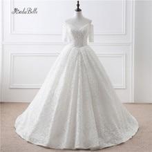 Lebanon Arab Lace Wedding Dresses Hochzeitskleid 2017 White/Ivory Half Sleeve V-Neck Wedding Ball Gown Bridal Dresses For Brides