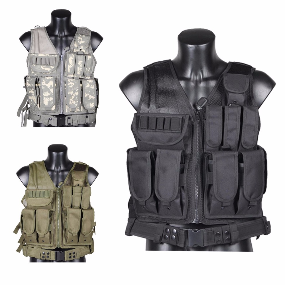 CVLIFE Adjustable Hunting Military Molle Style Tactical Vest with 9 Pouches and Pistol Holster adjustable quick release plastic tactical puttee thigh leg pistol holster pouch for usp45 black