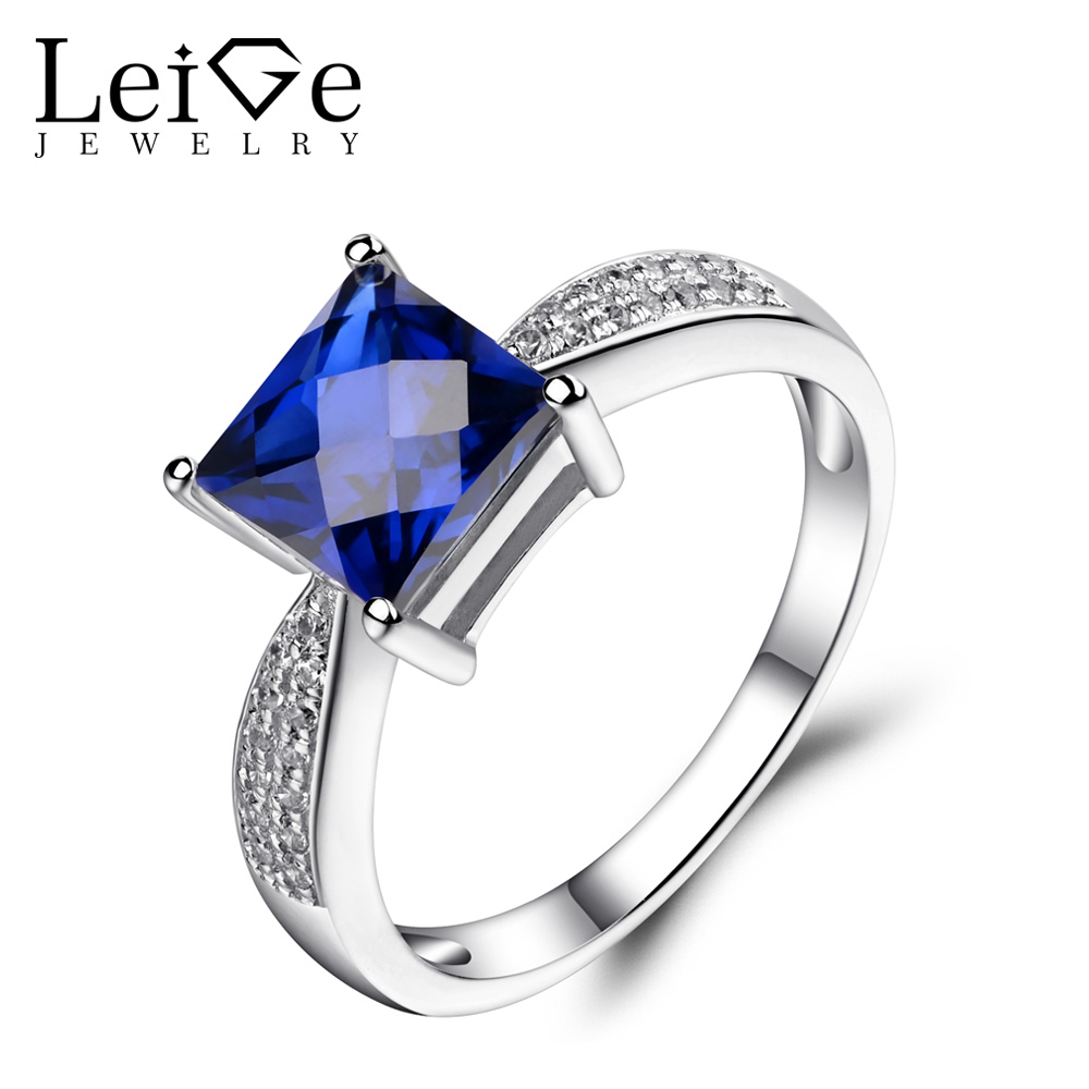 Leige Jewelry Blue Sapphire Engagement Rings for Women 925 Sterling Silver Promise Ring Square Cut Blue Gemstone Jewelry leige jewelry swiss blue topaz ring oval shaped engagement promise rings for women 925 sterling silver blue gemstone jewelry