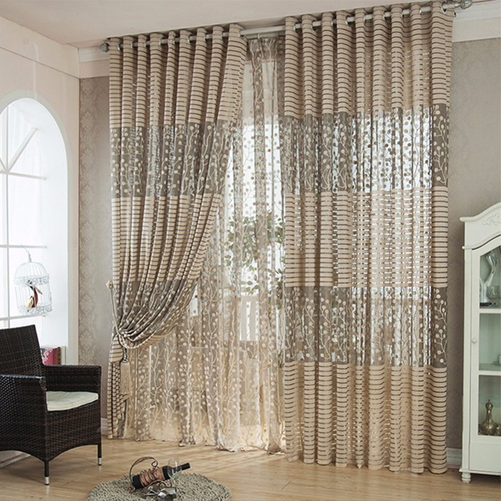 Simple window curtains - 1pc Simple Design Curtains Tulle Window Curtain For Living Room Bedroom Kitchen Curtains Printed Sheer Voile