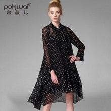 POKWAI Long Casual Silk Shirts Women Tops 2017 Brand Quality Full Sleeve Blouse O-Neck Undies Overshirt Chiffon Ladies Dresses