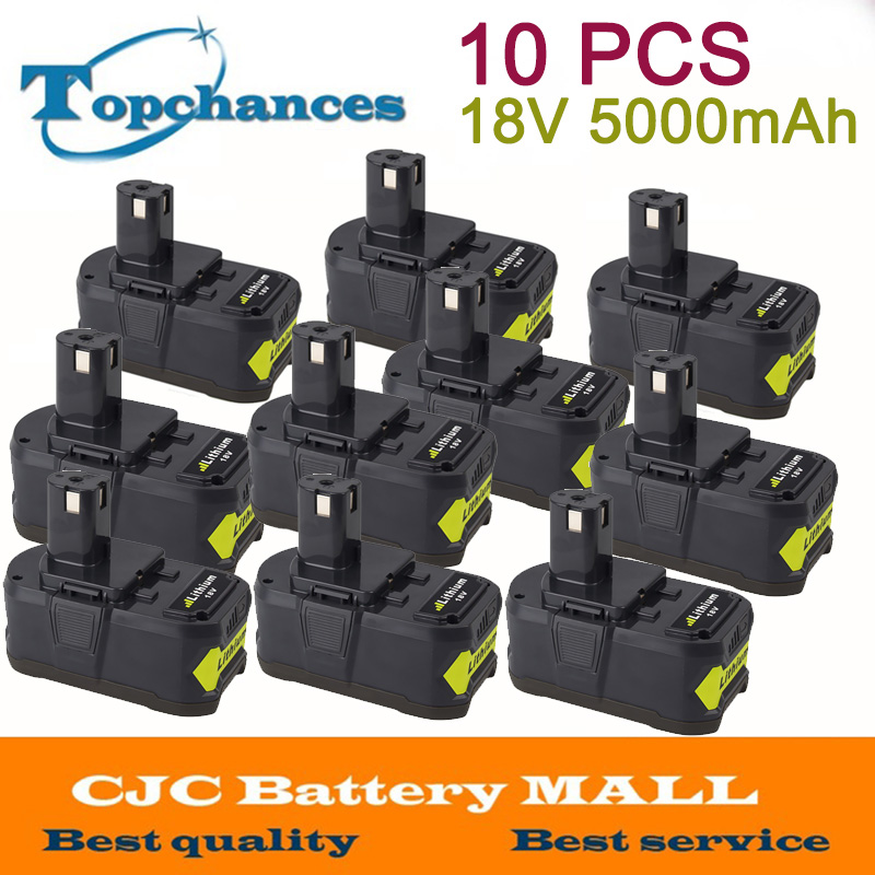 High Quality 10PCS 18V 5000mAh 5.0Ah Li-Ion Rechargeable Battery For Ryobi P108 RB18L40 P107 P104 For ONE+ BIW180 18v 5000mah li ion battery for ryobi p108 p107 p106 p105 p104 p103 p102 power tool battery high quality