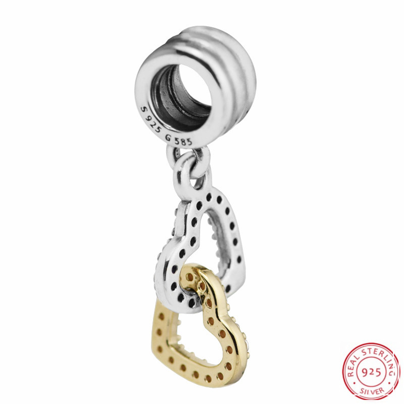 Clear CZ 14K Gold Interlocked Hearts Pendant Charm Beads for Jewelry Making DIY Fit PANDORA Charms