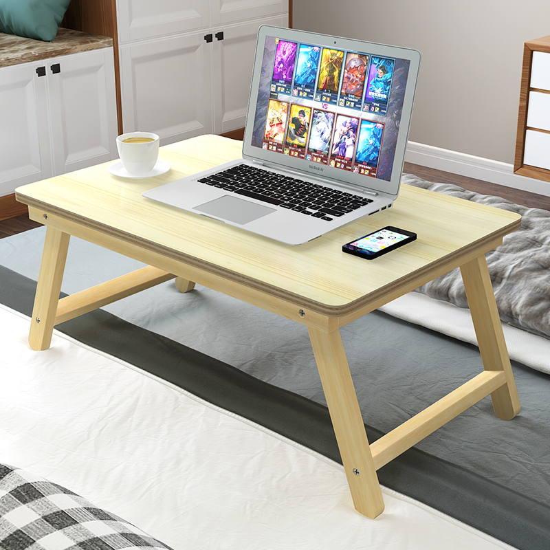 Laptop Table Bed Lazy Computer Solid Wood Folding Study Small Desk