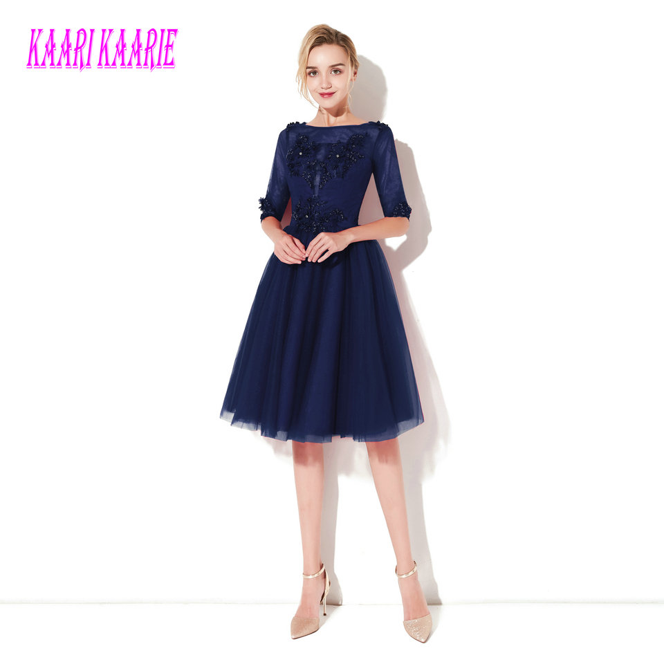 Fashion Dark Navy   Prom     Dresses   Short 2019 Sexy Party   Dress   Scoop Tulle Appliques Lace Up Knee-Length Women Evening Gowns   Prom