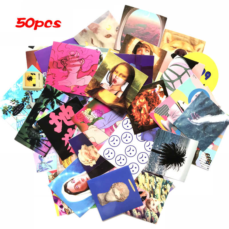 50pcs Ins Personality Mix Laptop Stickers Diy Sticker For Kids Toys Cars Phone Bicycle Waterproof Luggage Trolley Case Sticker