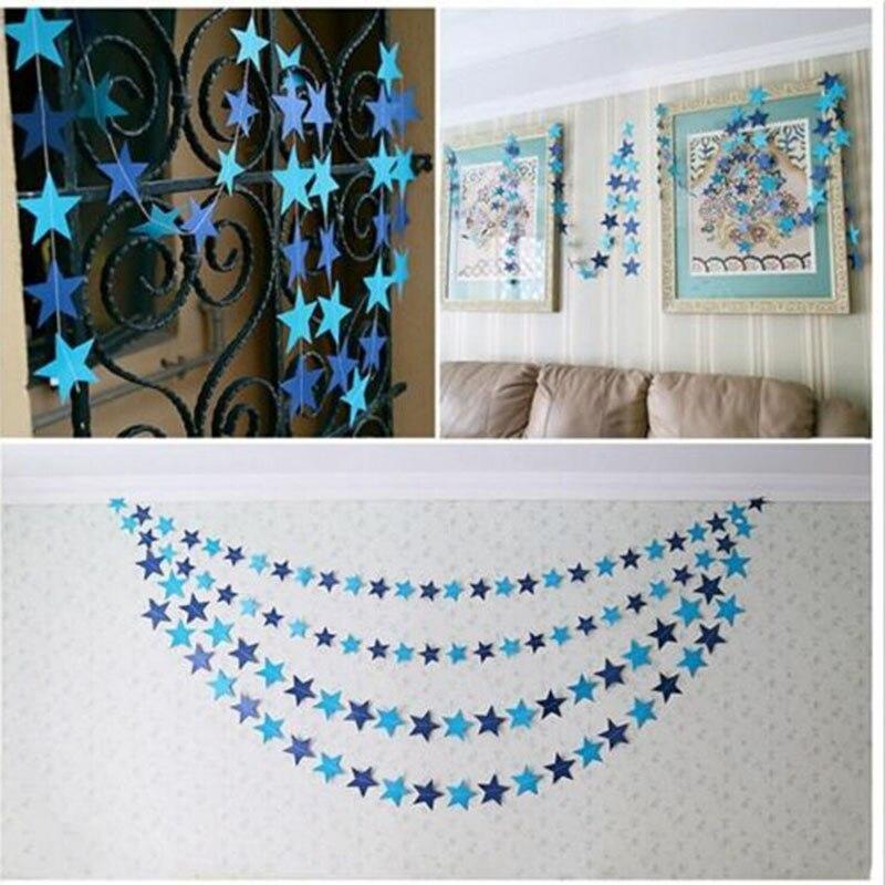 Offre spéciale 4 M belle étoile de papier suspendus guirlandes bruant pour mariage noël anniversaire mariage fête décorations pour la maison